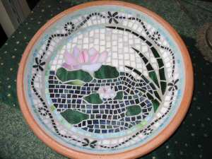 Purple Chrysanthemum Bird Bath - JoSara - Contemporary mosaic bird